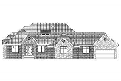 Brookline Custom Home Front Elevation in Wichita