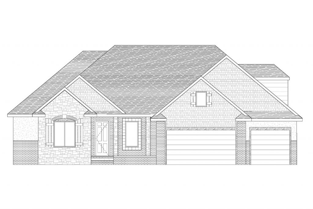 Cascade Custom Home Front Elevation in Wichita
