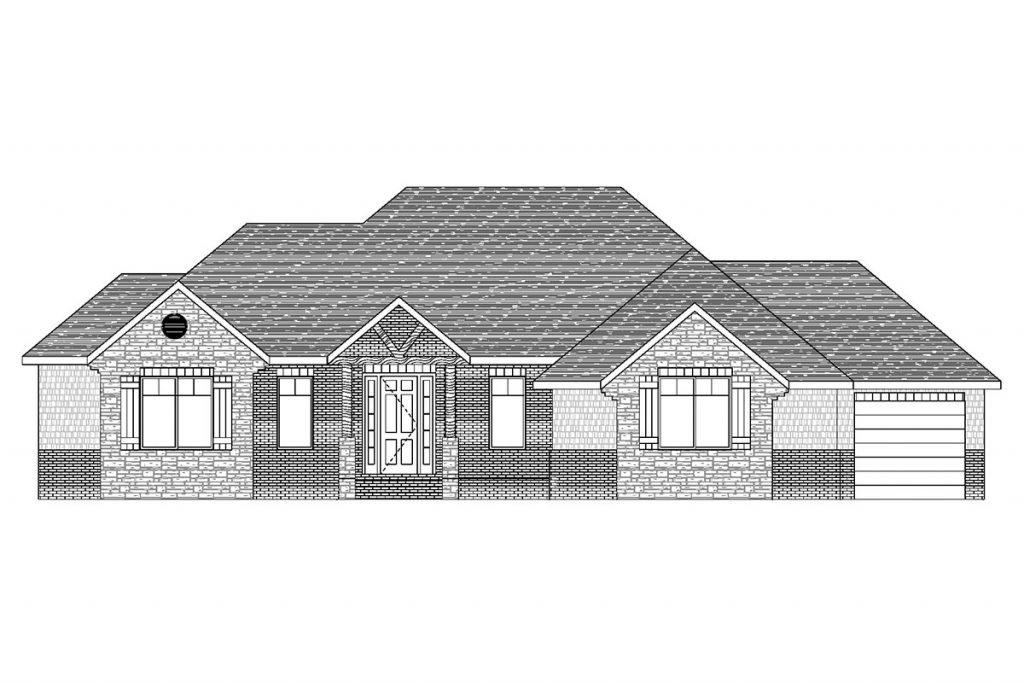 Hartford Custom Home Front Elevation in Wichita