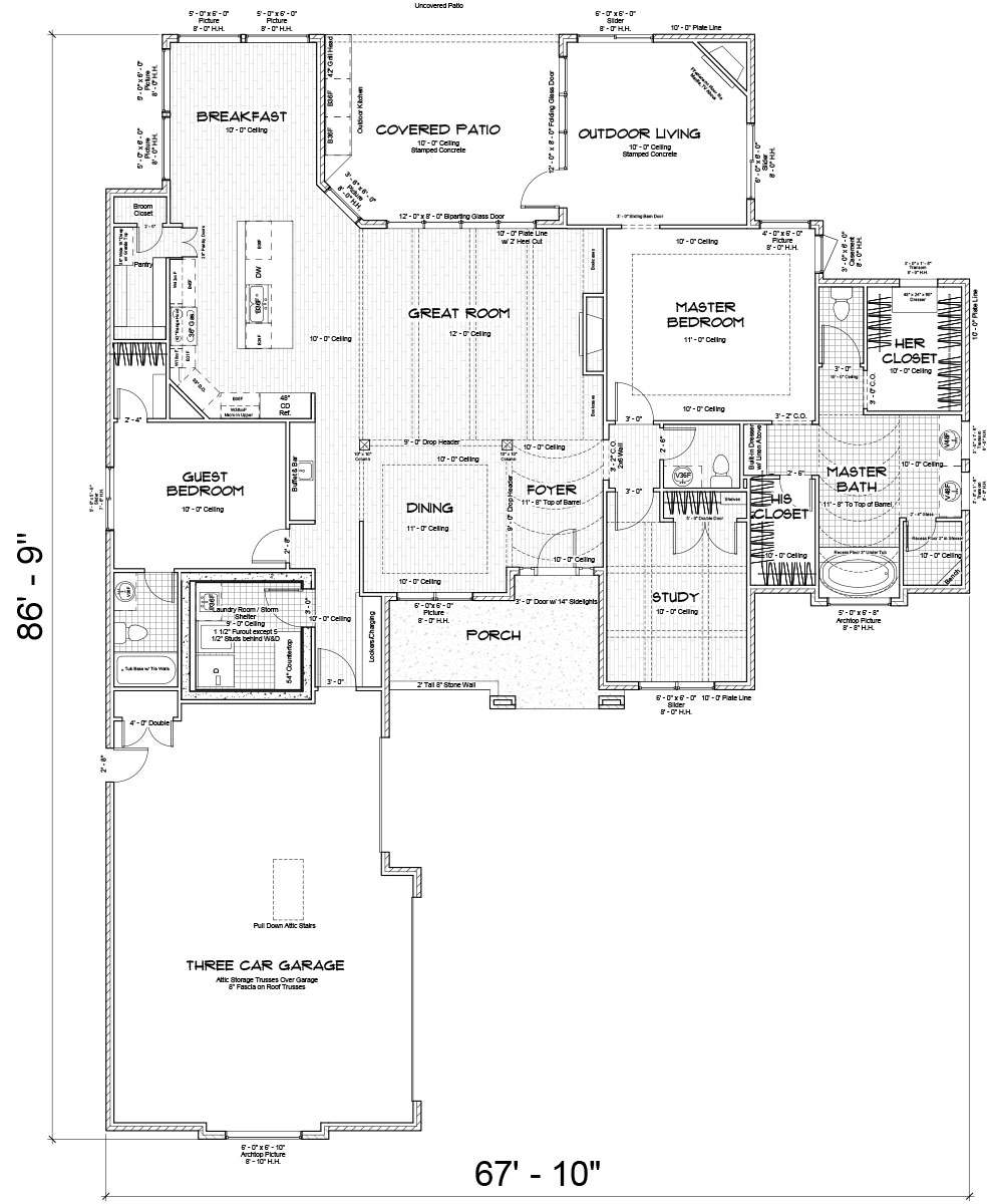 Bellevue Custom Home Floor Plan in Wichita