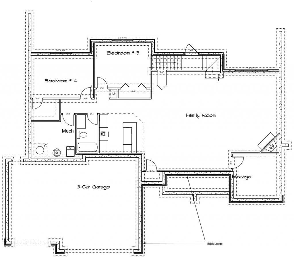 Brookshire Custom Home Basement Floor Plan in Wichita
