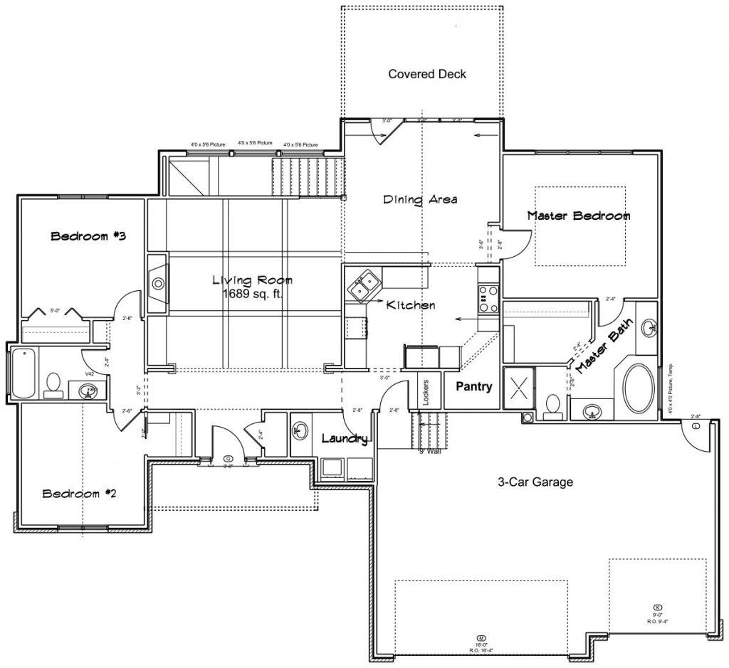 Brookshire Custom Home Main Level Floor Plan in Wichita