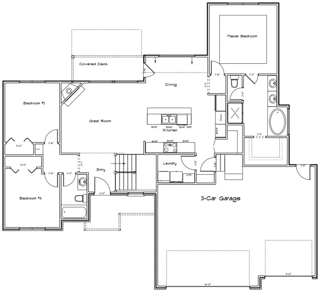 Claremore Custom Home Main Level Floor Plan in Wichita