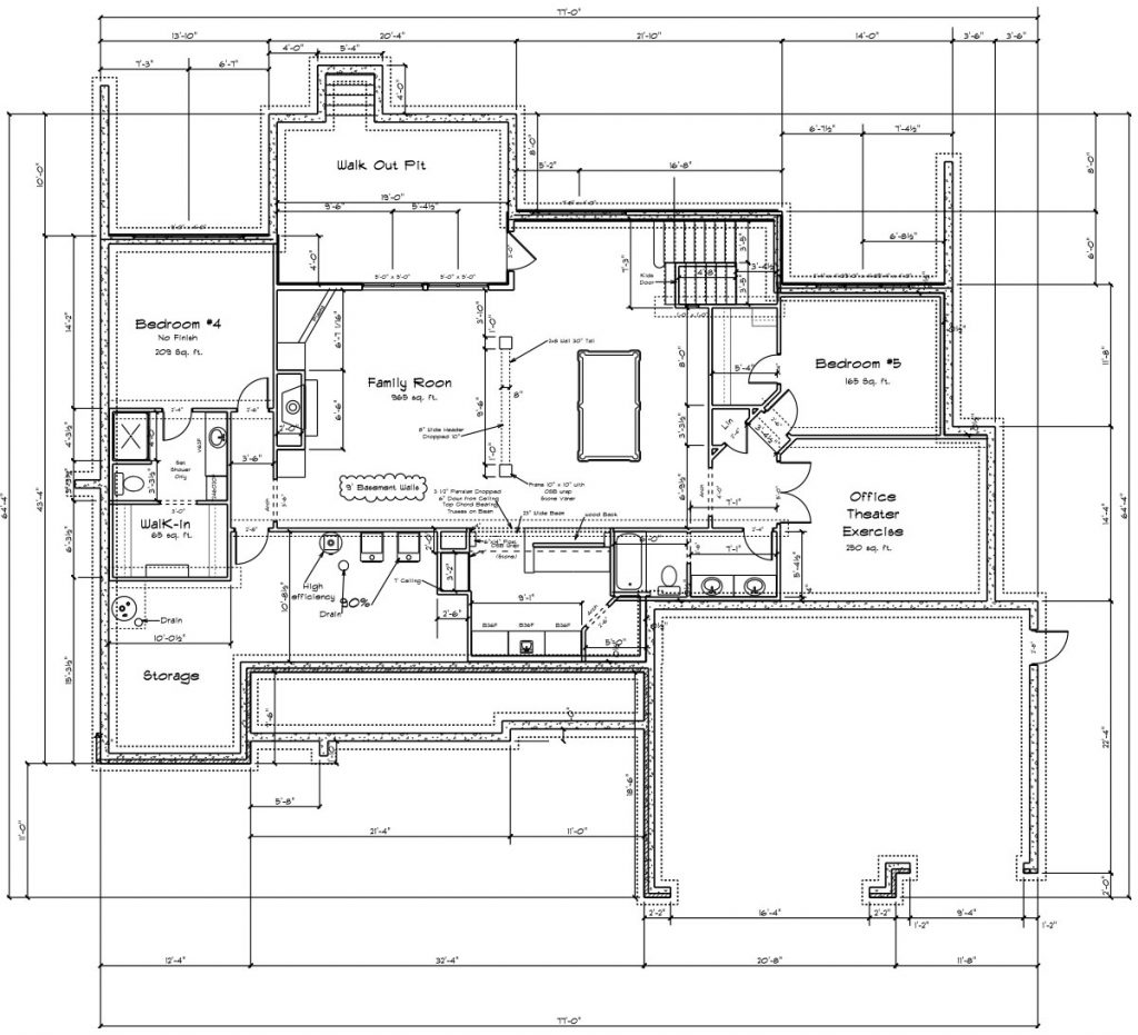 Nantucket Custom Home Basement Floor Plan in Wichita