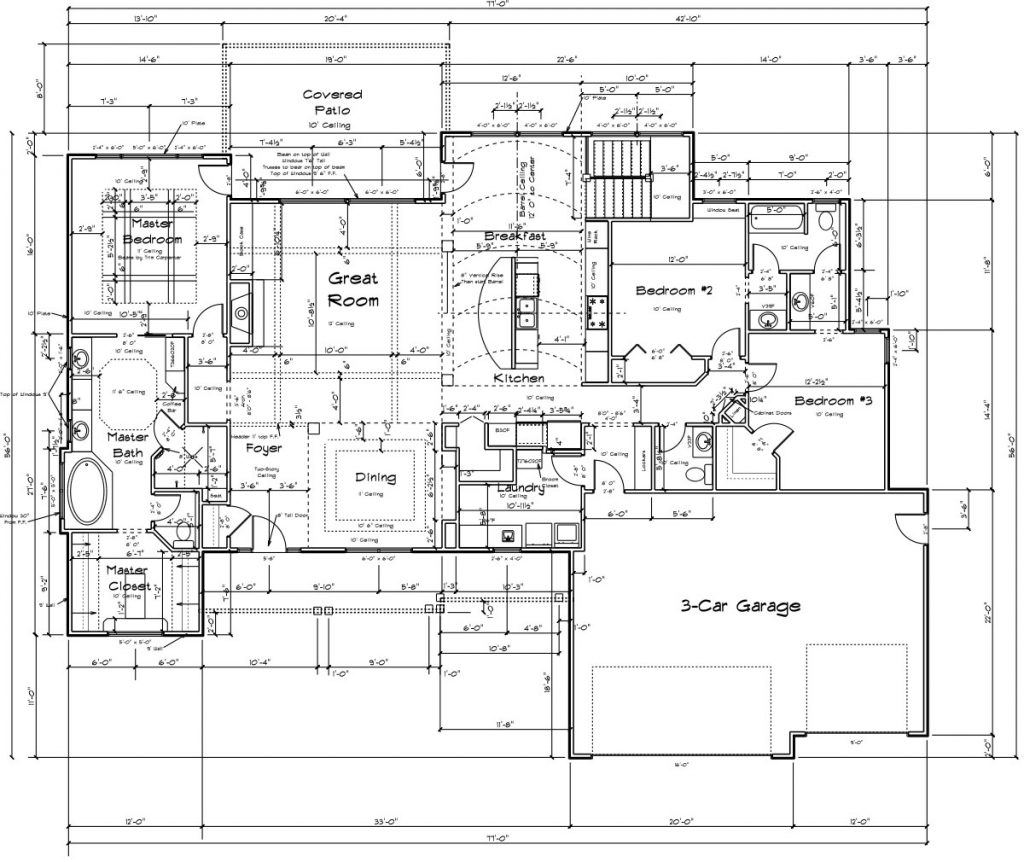 Nantucket Custom Home Main Level Floor Plan in Wichita