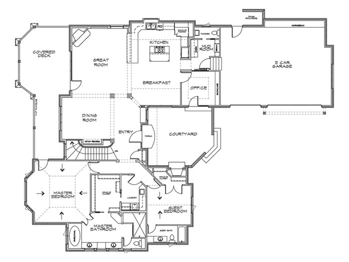 Villa Custom Home Floor Plan in Wichita