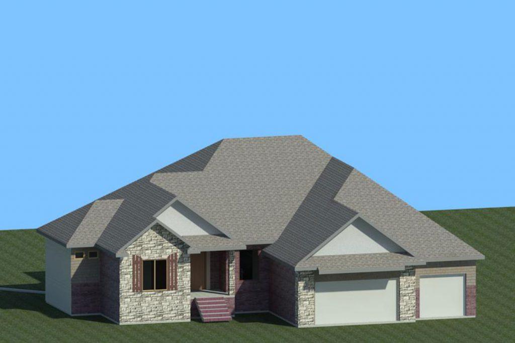 3D Rendering Catalina Custom Home in Wichita