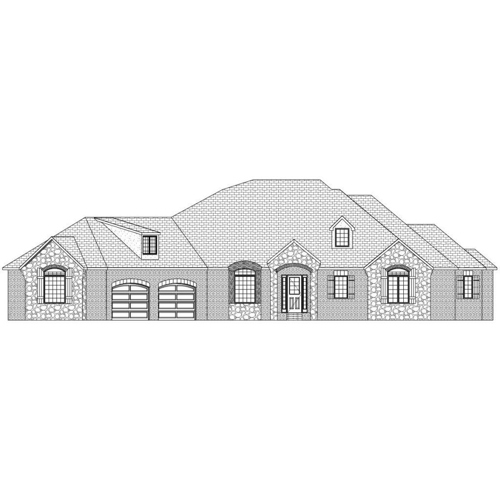 Davenport Custom Home Front Elevation in Wichita