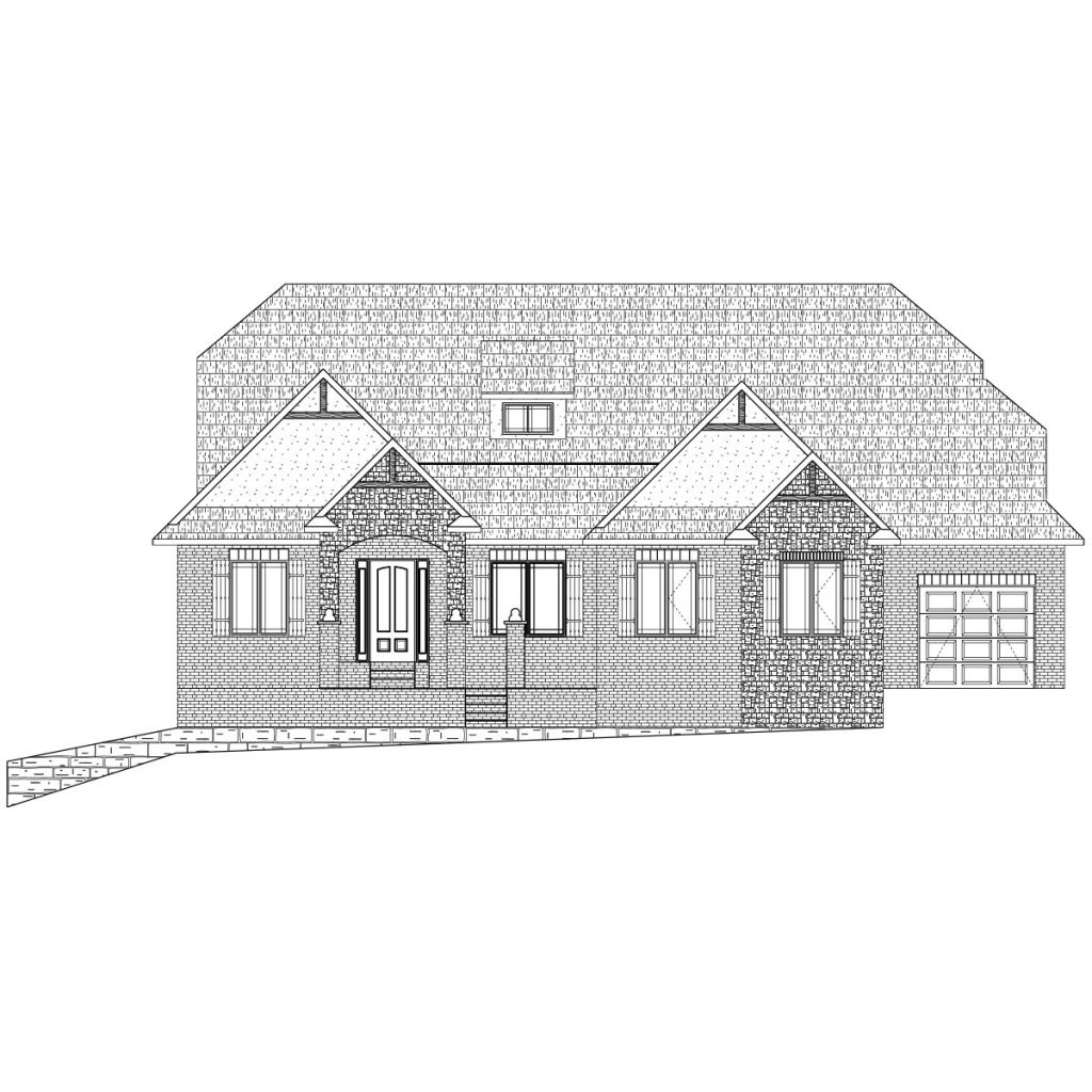 Kensington Custom Home Front Elevation in Wichita