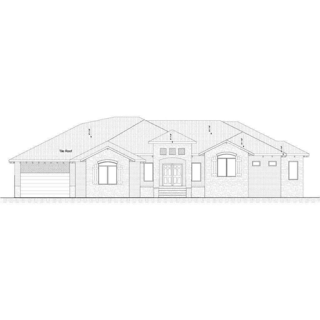 Laserana Custom Home Front Elevation in Wichita