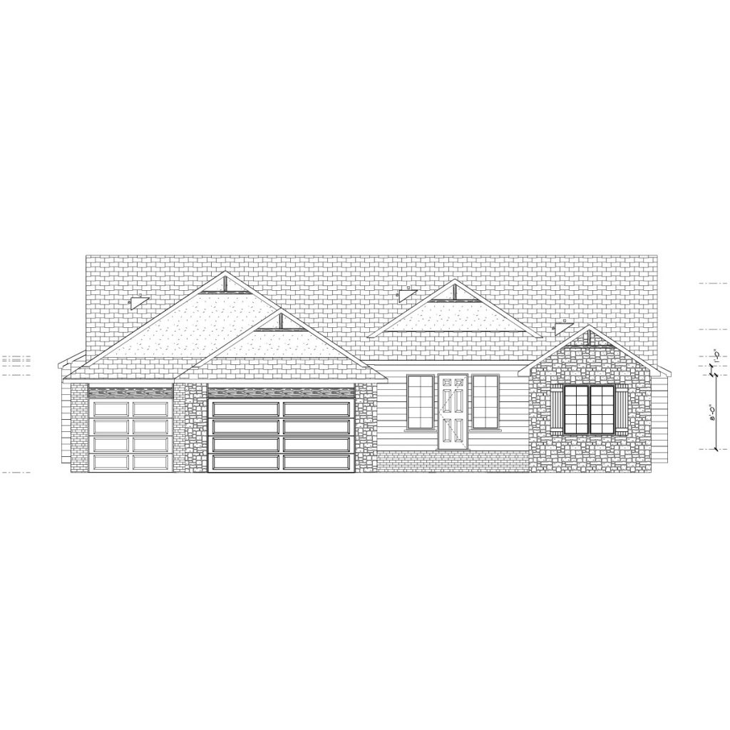 Winthrop Custom Home Front Elevation in Wichita