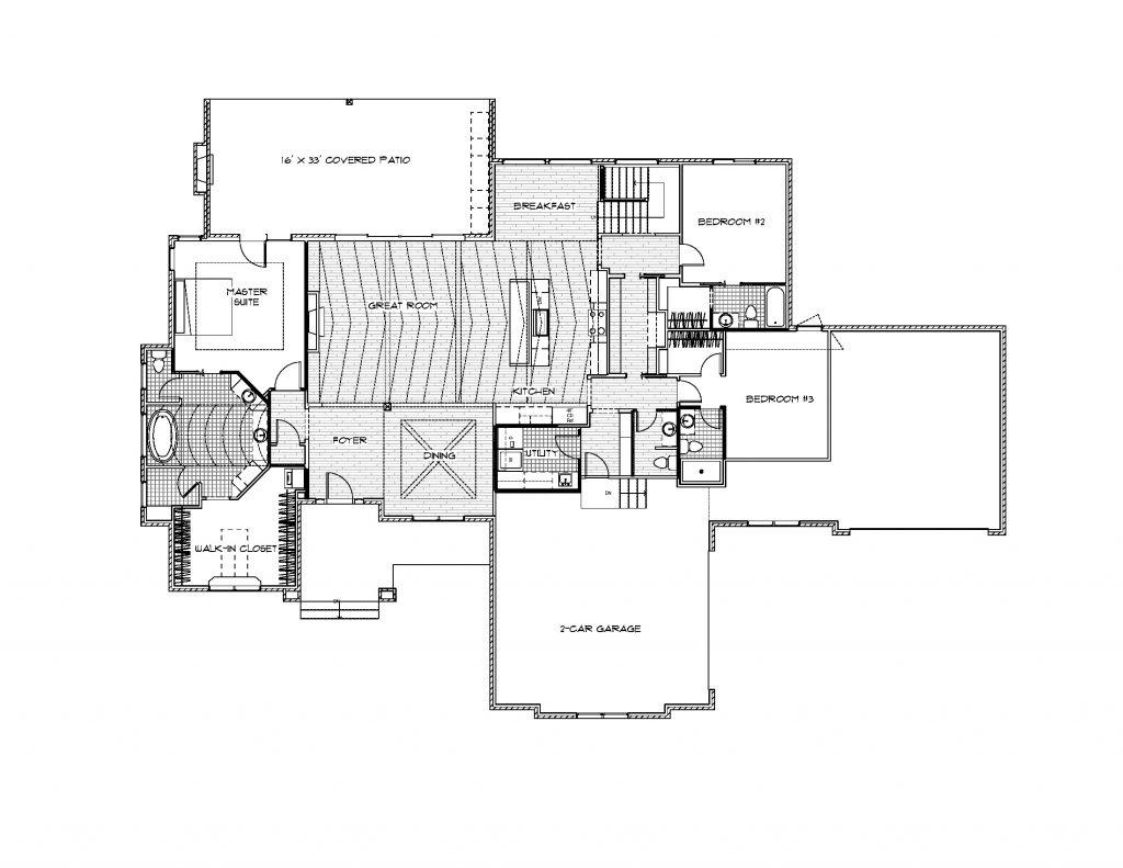 Bradbury Custom Home Main Level Floor Plan in Wichita