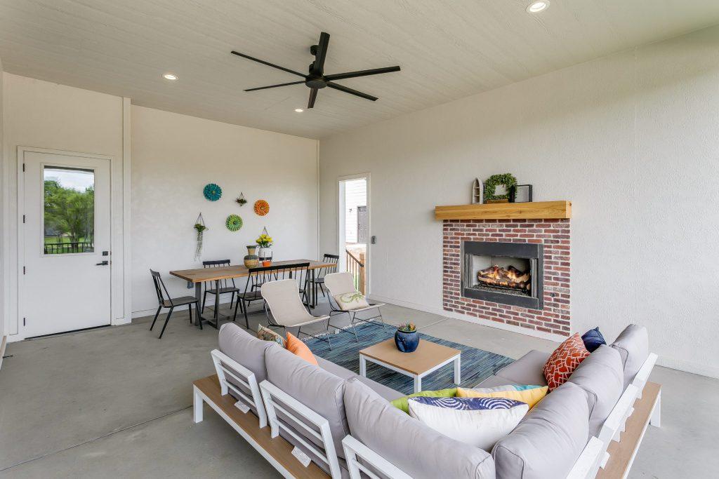 Summerset Terrace Prairie Covered Porch Fireplace